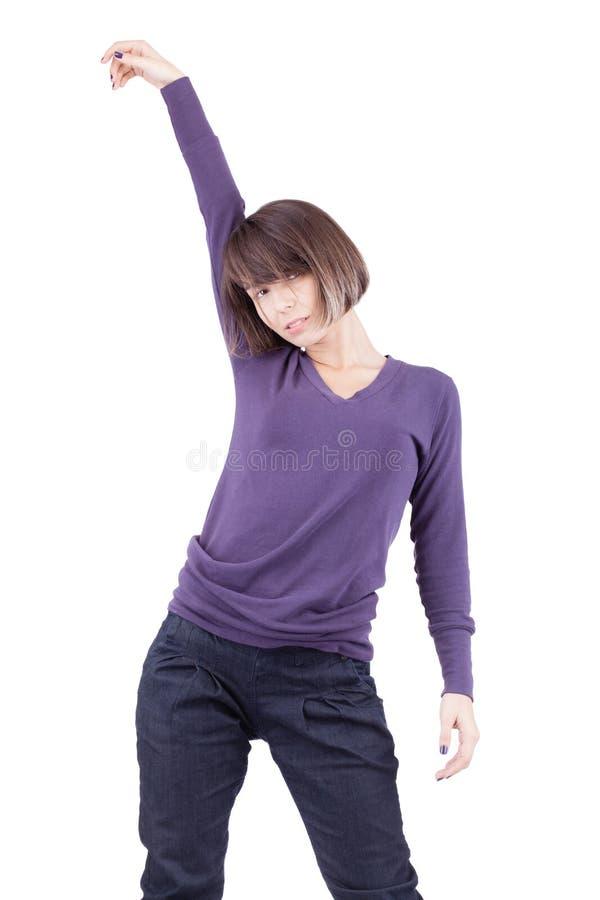 Κορίτσι με το σύντομο χορό τρίχας στοκ εικόνες με δικαίωμα ελεύθερης χρήσης
