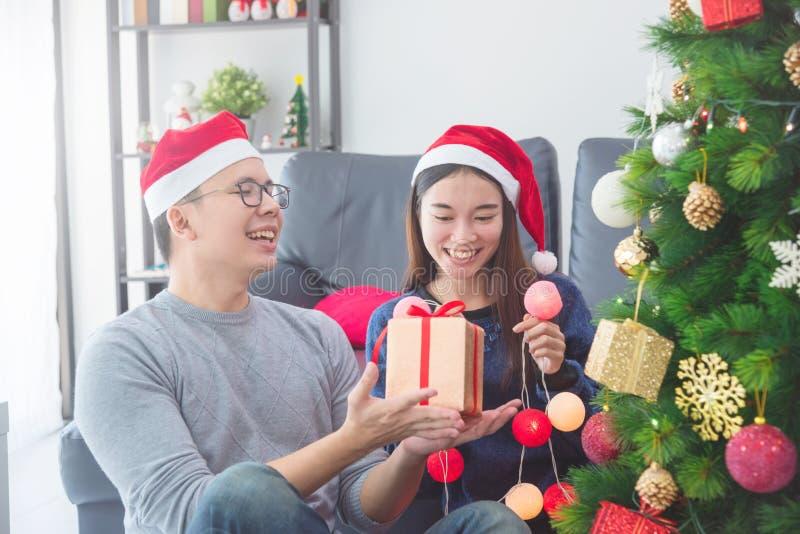 Κορίτσι με το φίλο που φορά τα καπέλα Santa που διακοσμούν το χριστουγεννιάτικο δέντρο στο σπίτι για τις διακοπές στοκ φωτογραφία με δικαίωμα ελεύθερης χρήσης