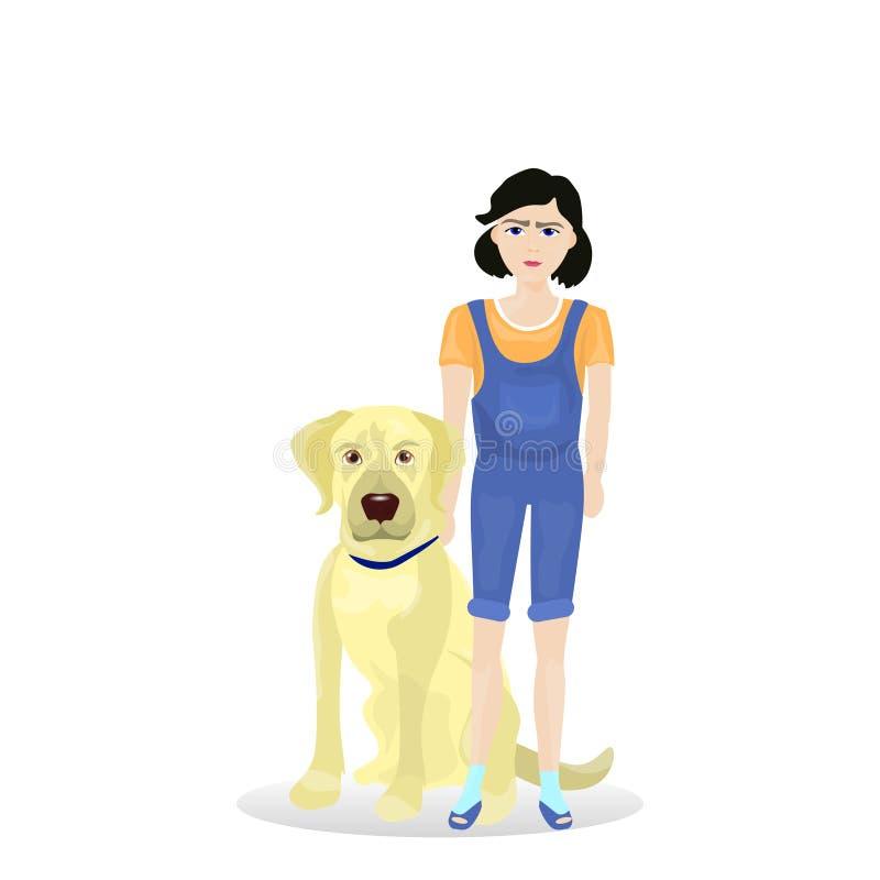 Κορίτσι με το φίλο σκυλιών του Λαμπραντόρ που απομονώνεται στο άσπρο υπόβαθρο απεικόνιση αποθεμάτων