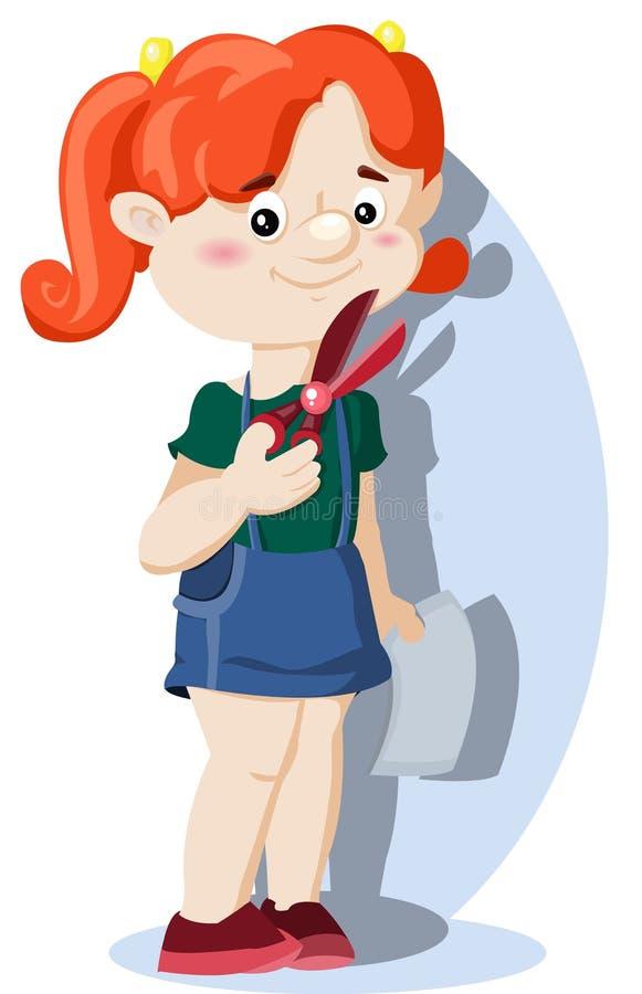 Κορίτσι με το ψαλίδι και το έγγραφο διανυσματική απεικόνιση