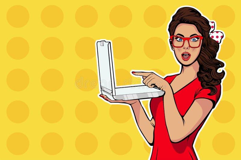 Κορίτσι με το lap-top με το δάχτυλο σε το Ψηφιακή διαφήμιση Κάποια ειδήσεις ή έννοια πώλησης Wow, omg συγκίνηση διανυσματική απεικόνιση