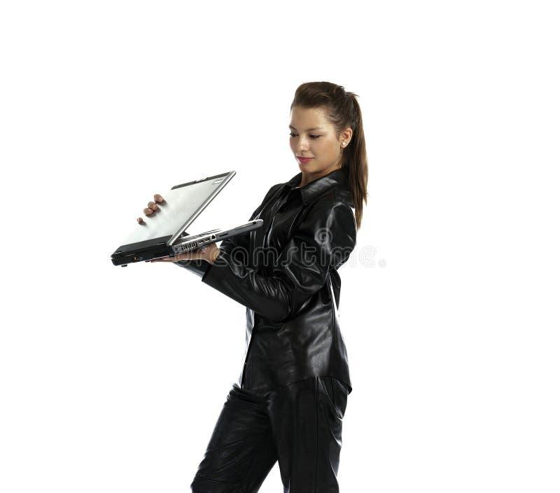 Κορίτσι με το lap-top στοκ εικόνες με δικαίωμα ελεύθερης χρήσης