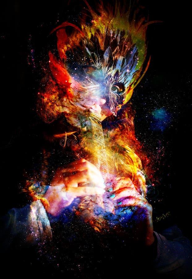 Κορίτσι με το shamanic παιχνίδι μασκών φτερών στο ξύλινο διακοσμητικό φλάουτο στο κοσμικό διάστημα διανυσματική απεικόνιση