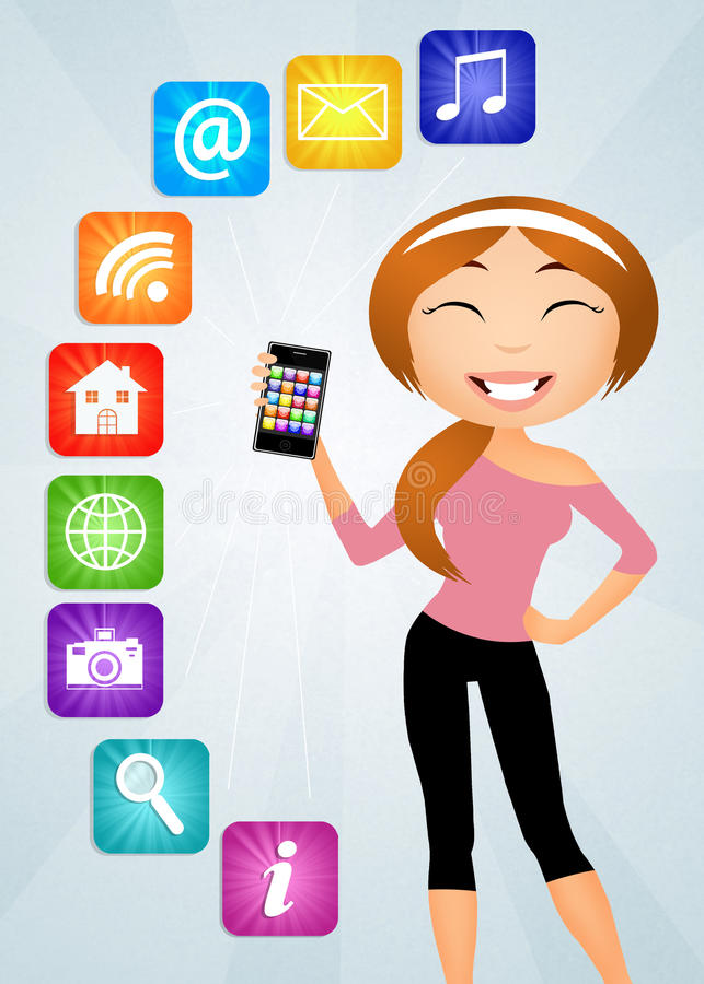 Κορίτσι με το smartphone διανυσματική απεικόνιση