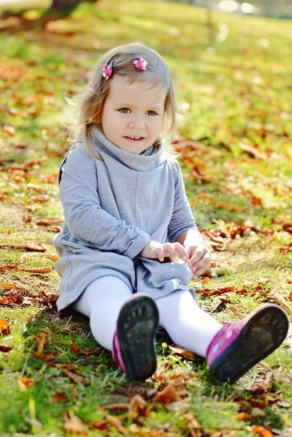 Κορίτσι μικρών παιδιών στο πάρκο φθινοπώρου στοκ εικόνα