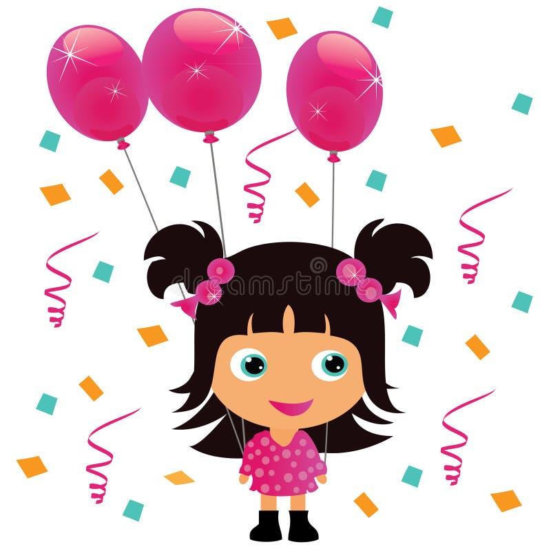 κορίτσι μπαλονιών λίγο ρο& διανυσματική απεικόνιση