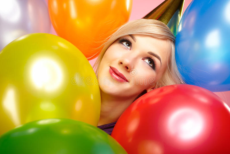 Download κορίτσι μπαλονιών στοκ εικόνες. εικόνα από γοητεία, φόρεμα - 17055120