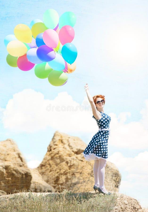 κορίτσι μπαλονιών στοκ εικόνες