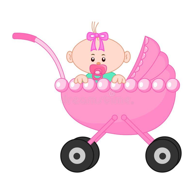 κορίτσι μπουκαλιών μωρών Χαριτωμένο διανυσματικό illustartion μωρών ελεύθερη απεικόνιση δικαιώματος