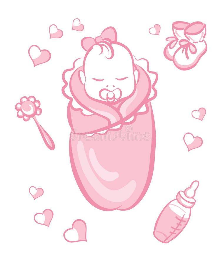 κορίτσι μπουκαλιών μωρών στοκ εικόνα