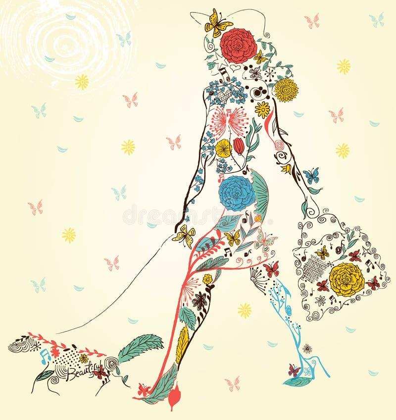 Κορίτσι μόδας με την τσάντα σε μια οδό διανυσματική απεικόνιση