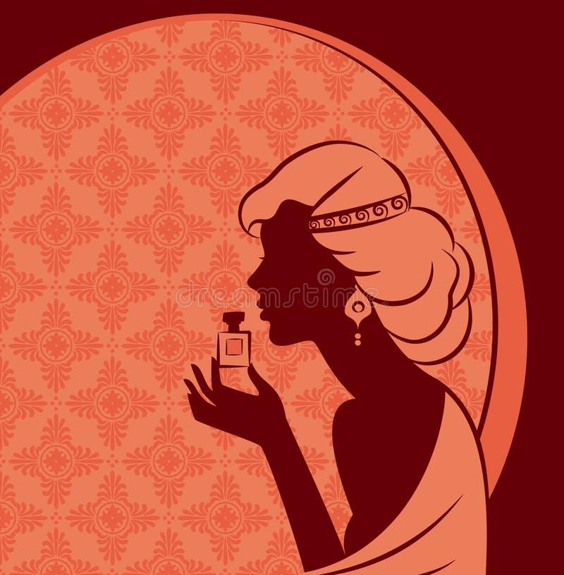 κορίτσι μόδας με το άρωμα. διανυσματική απεικόνιση
