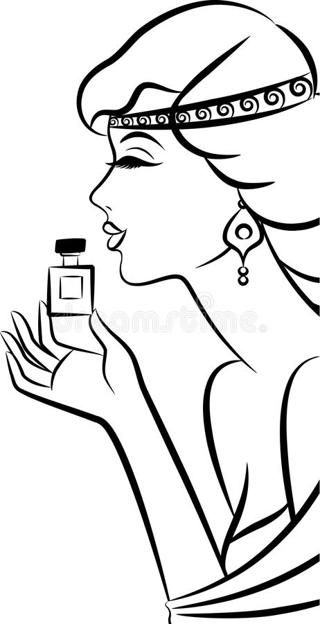 Κορίτσι μόδας με το άρωμα. απεικόνιση αποθεμάτων