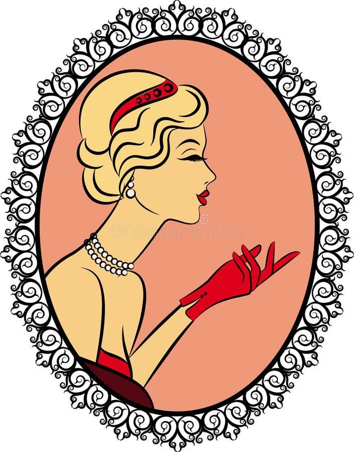 κορίτσι μόδας με το κόκκινο γάντι. διανυσματική απεικόνιση