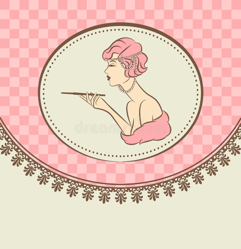 κορίτσι μόδας με το πυροβόλο-δυαδικό ψηφίο. διανυσματική απεικόνιση