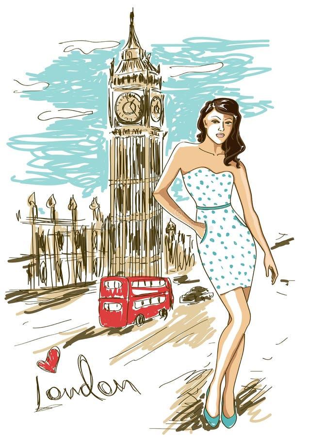 Κορίτσι μόδας στο Λονδίνο διανυσματική απεικόνιση