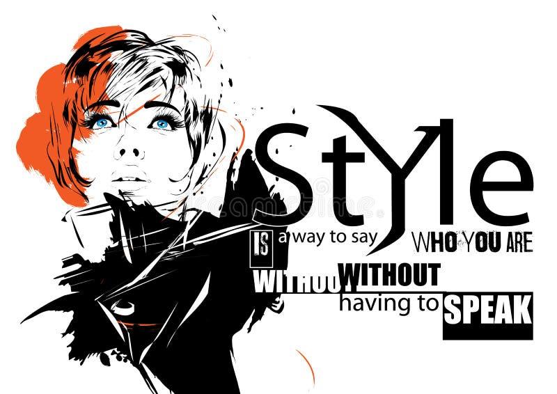 Κορίτσι μόδας στο σκίτσο-ύφος διανυσματική απεικόνιση