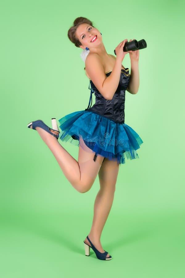 Κορίτσι ναυτικών ποδιών pinup επάνω στοκ φωτογραφίες με δικαίωμα ελεύθερης χρήσης
