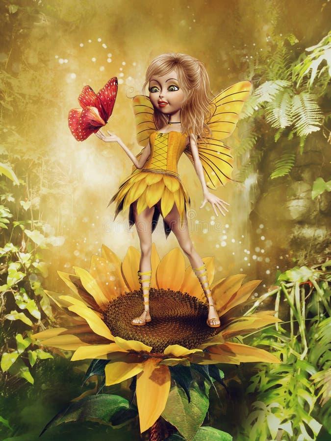 Κορίτσι νεράιδων σε έναν ηλίανθο διανυσματική απεικόνιση