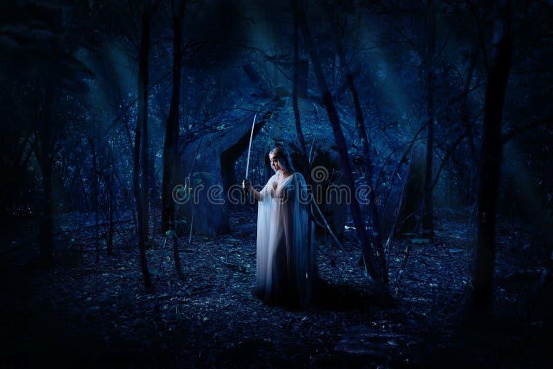 Κορίτσι νεραιδών στη δασική έκδοση νύχτας στοκ φωτογραφίες