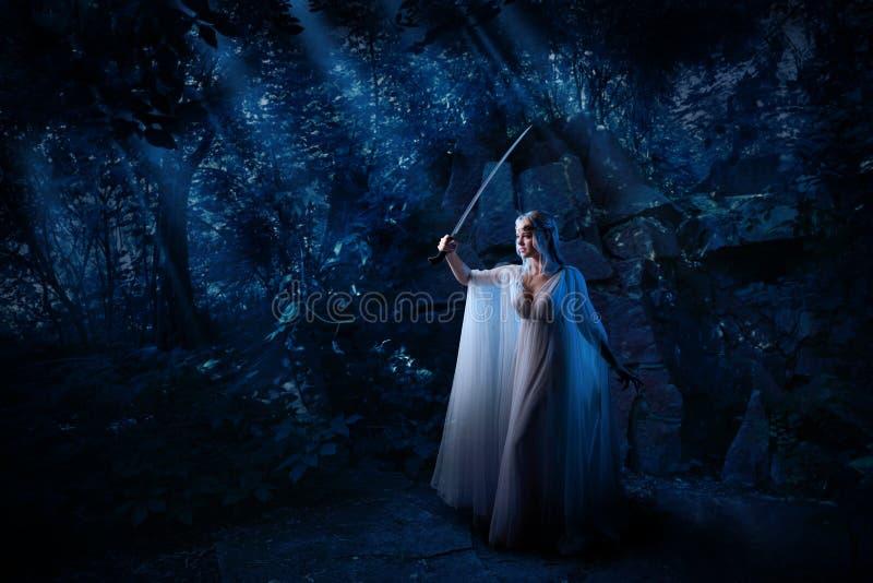 Κορίτσι νεραιδών στη δασική έκδοση νύχτας στοκ εικόνα με δικαίωμα ελεύθερης χρήσης