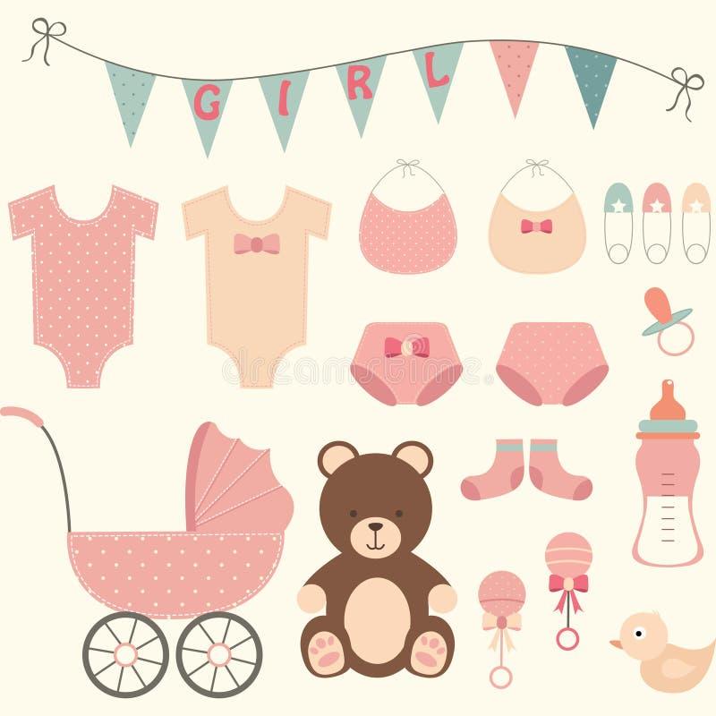 Κορίτσι ντους μωρών διανυσματική απεικόνιση