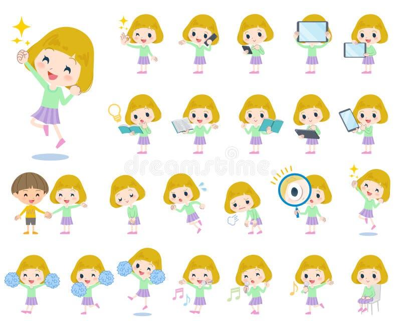 Κορίτσι 2 ξανθών μαλλιών απεικόνιση αποθεμάτων