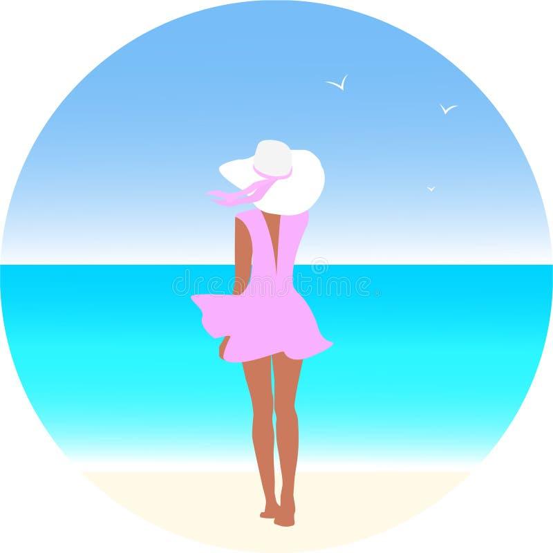 Κορίτσι ομορφιάς που περπατά κατά μήκος της παραλίας Μια χαλαρωμένη γυναίκα στην παραλία απεικόνιση αποθεμάτων