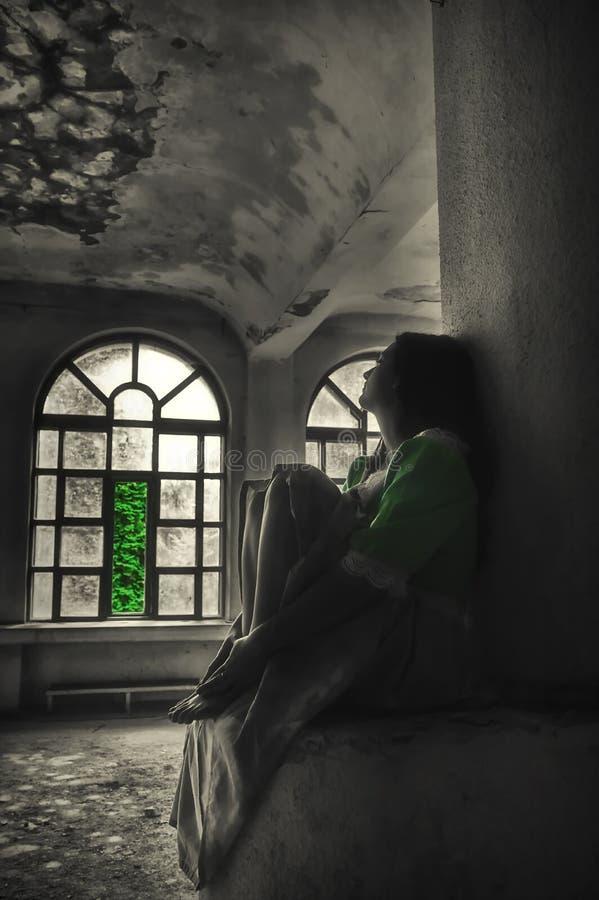 Κορίτσι ονειροπόλων - σκηνή παραμυθιού στοκ εικόνα με δικαίωμα ελεύθερης χρήσης