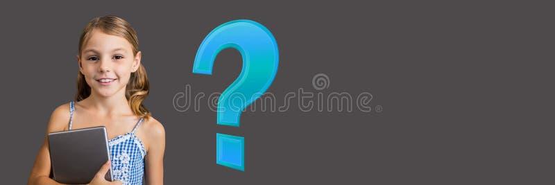 Κορίτσι παιδιών με το μπλε ερωτηματικό απεικόνιση αποθεμάτων