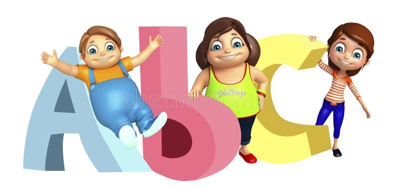 Κορίτσι παιδιών και αγόρι παιδιών με το σημάδι ABC διανυσματική απεικόνιση