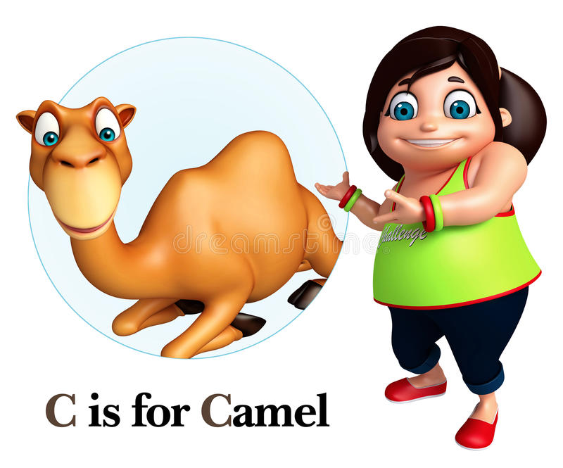 Κορίτσι παιδιών που δείχνει την καμήλα απεικόνιση αποθεμάτων