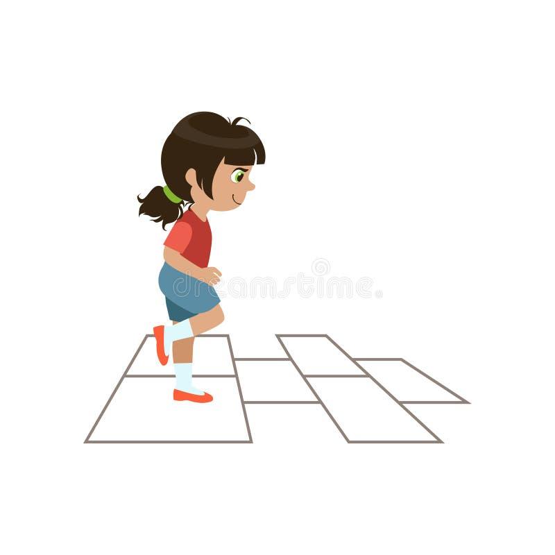 κορίτσι παιδιών hopscotch που παίζ& ελεύθερη απεικόνιση δικαιώματος