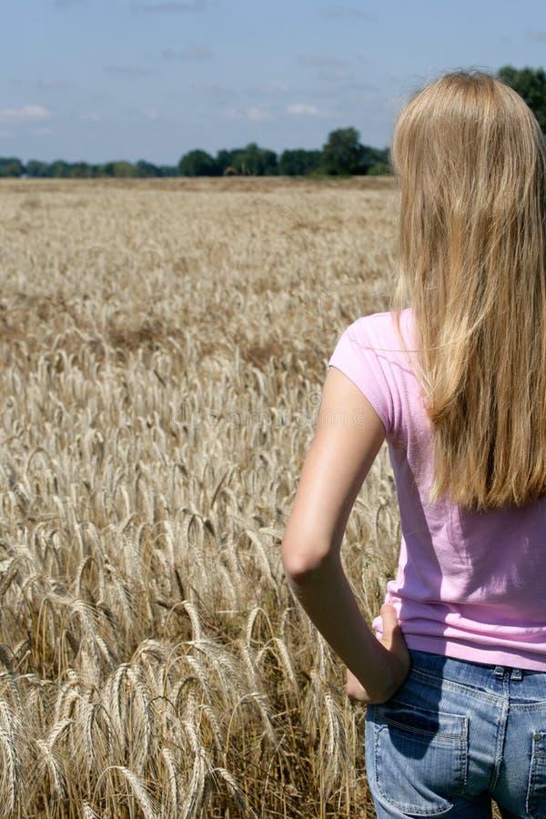 κορίτσι πεδίων εφηβικό στοκ φωτογραφία με δικαίωμα ελεύθερης χρήσης