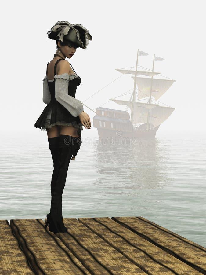Κορίτσι πειρατών φαντασίας στην αποβάθρα ελεύθερη απεικόνιση δικαιώματος