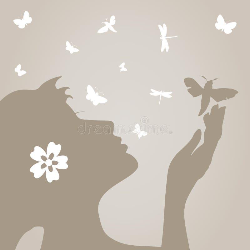κορίτσι πεταλούδων ελεύθερη απεικόνιση δικαιώματος