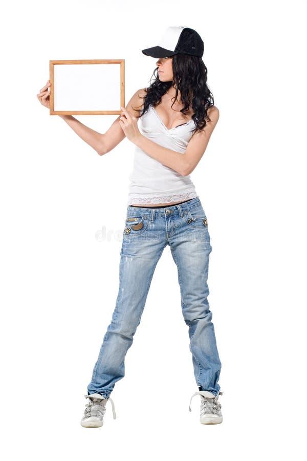κορίτσι πλαισίων ξύλινο στοκ εικόνα με δικαίωμα ελεύθερης χρήσης