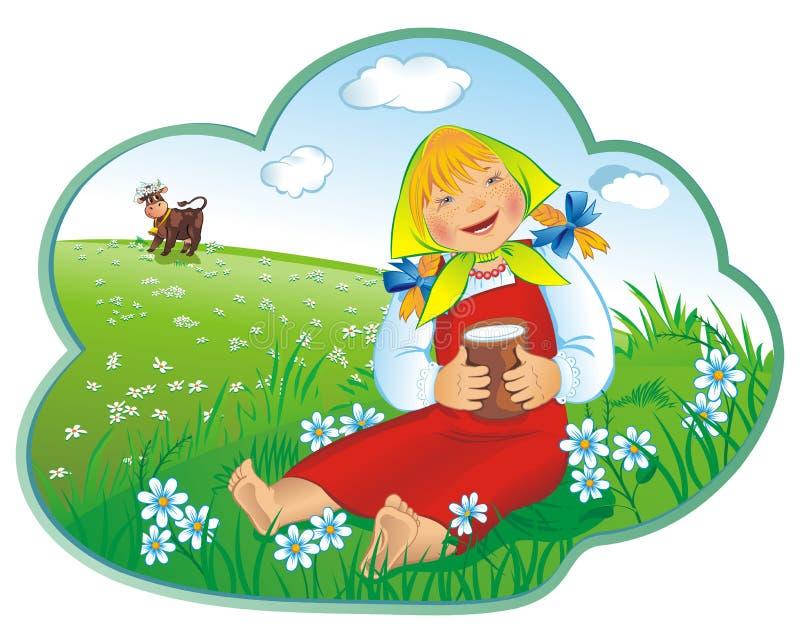 κορίτσι ποτών λίγο γάλα στοκ εικόνα με δικαίωμα ελεύθερης χρήσης