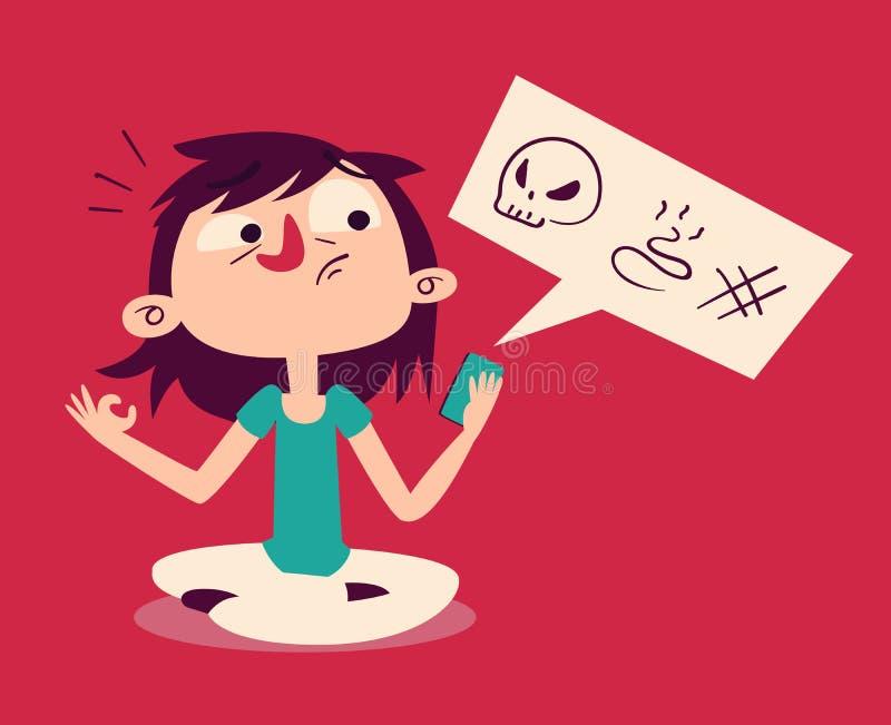 Κορίτσι που αποτυγχάνει σε Meditate που εξετάζει το τηλέφωνο απεικόνιση αποθεμάτων