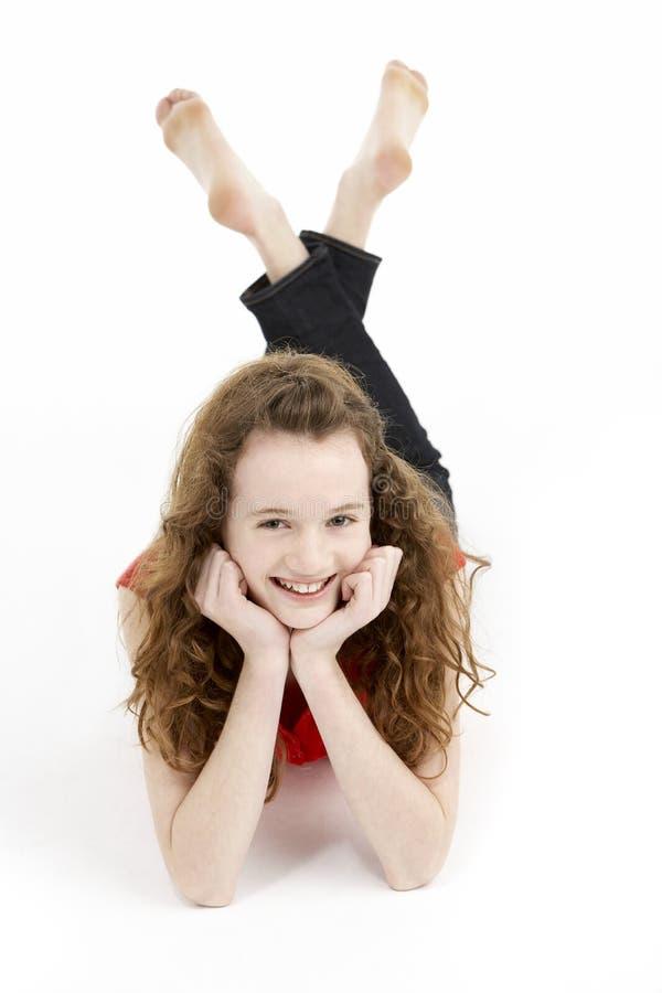 κορίτσι που βάζει τις νε&omi στοκ εικόνα με δικαίωμα ελεύθερης χρήσης