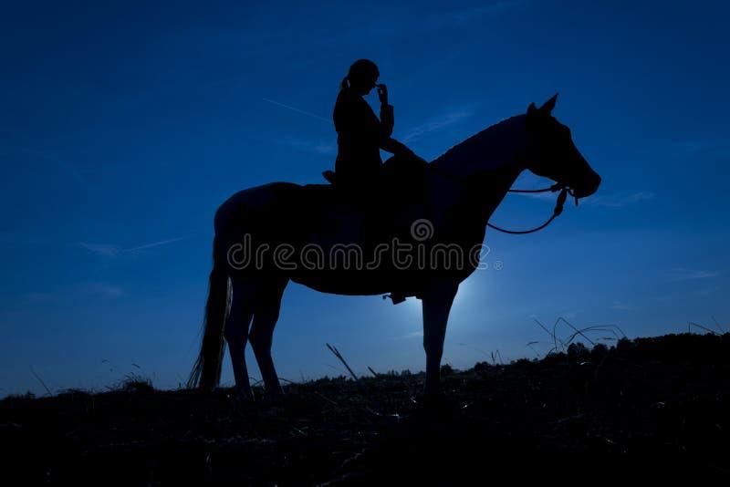 Κορίτσι που γρατσουνίζει τη μύτη της, άλογο στο ηλιοβασίλεμα στο μπλε στοκ εικόνες