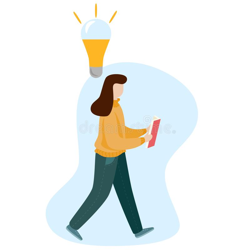 Κορίτσι που διαβάζει ένα βιβλίο και ένα περπάτημα Επίπεδος διανυσματικός χαρακτήρας ύφους διανυσματική απεικόνιση