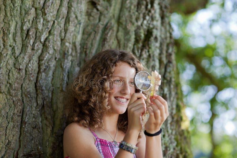 Κορίτσι που εξετάζει το φύλλο μέσω της ενίσχυσης - γυαλί στο πάρκο στοκ φωτογραφίες