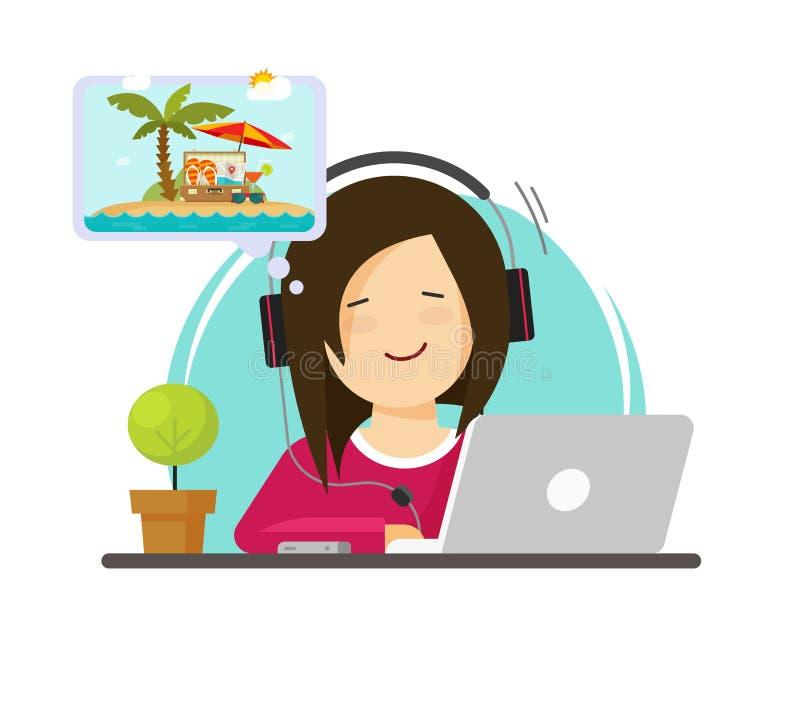 Κορίτσι που εργάζεται στον υπολογιστή και που ονειρεύεται το θέρετρο που ταξιδεύει, επίπεδη εργασία προσώπων κινούμενων σχεδίων γ διανυσματική απεικόνιση