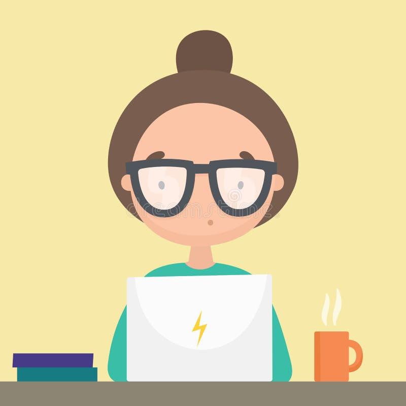 Κορίτσι που εργάζεται στο lap-top της ελεύθερη απεικόνιση δικαιώματος