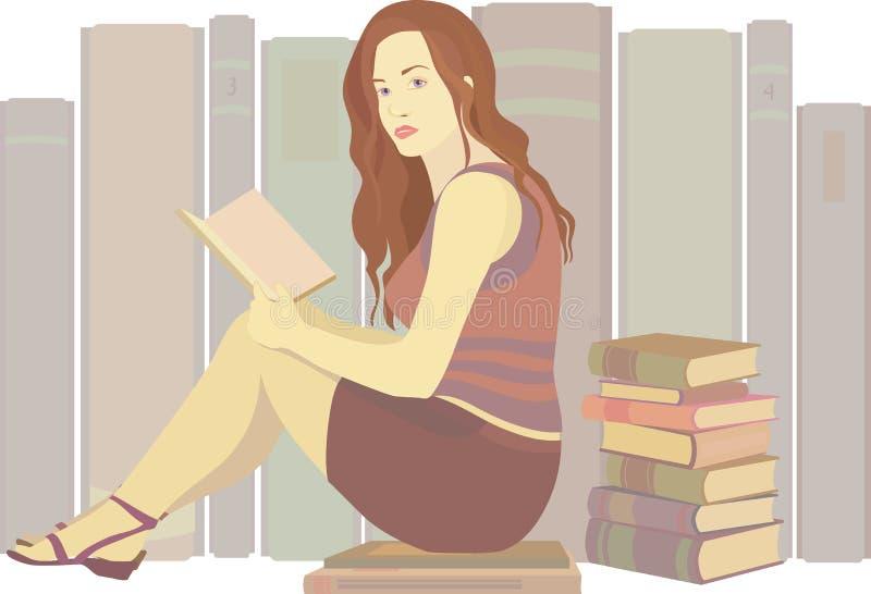Κορίτσι που διαβάζει ένα βιβλίο απεικόνιση αποθεμάτων