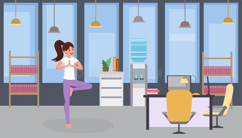 Κορίτσι που κάνει την επίπεδη διανυσματική απεικόνιση γιόγκας Γιόγκα άσκησης γυναικών, χαλαρωμένη άσκηση εργαζομένων γραφείων, πο απεικόνιση αποθεμάτων