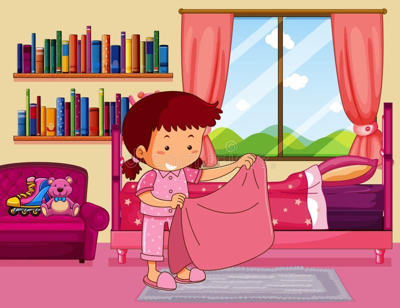 Κορίτσι που κάνει το κρεβάτι στην κρεβατοκάμαρα διανυσματική απεικόνιση