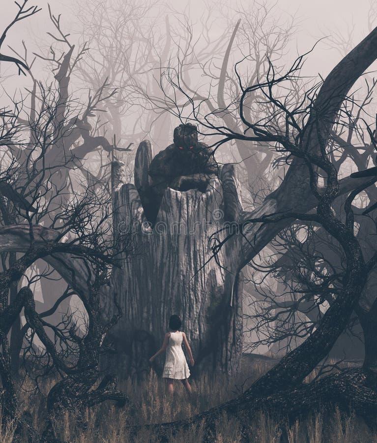 Κορίτσι που κοιτάζει επίμονα σε ένα δέντρο φαντασμάτων στο ανατριχιαστικό δάσος διανυσματική απεικόνιση