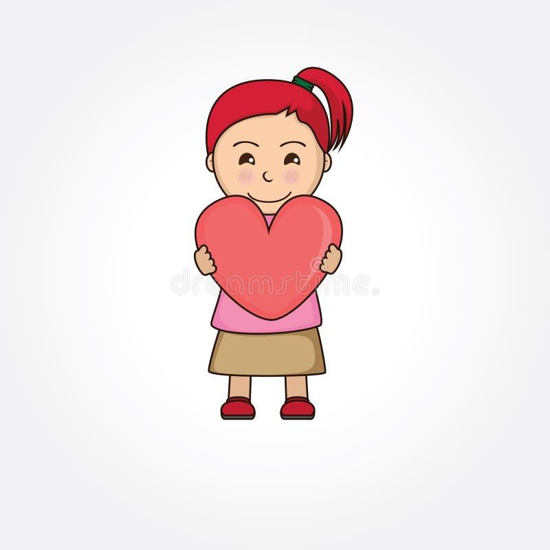 Κορίτσι που κρατά ένα σύμβολο της αγάπης στοκ φωτογραφία